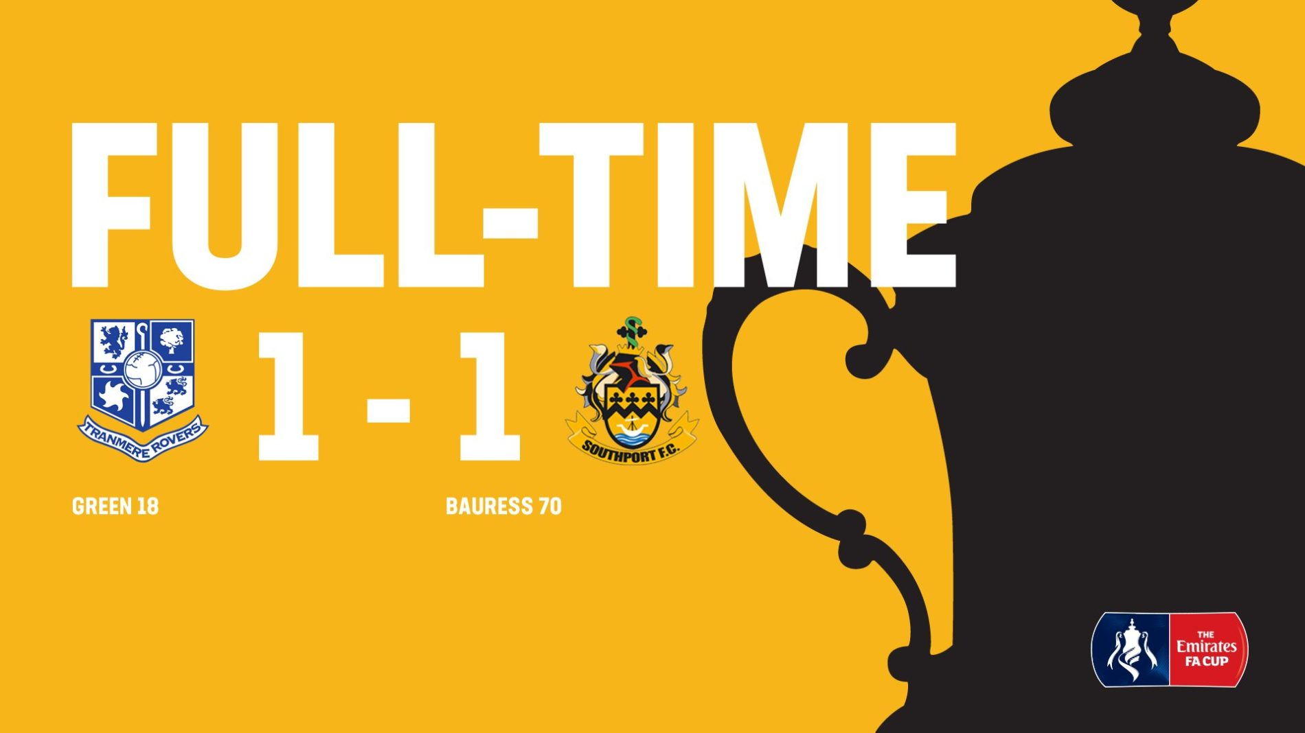 MATCH REPORT | Tranmere Rovers 1-1 Southport – FA Cup
